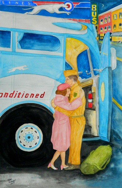1-Soldiers Farewell, 1944  15x22 5, watercolor, april 19, 2016 DSCN0512