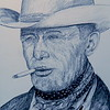 Texas Cowboy - Clarence Hailey Long, 1949  based on photo by Leonard McCombe  12x15, graphite pencil, july 21, 2016 DSCN0174