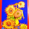 Homage to Van Gogh-Six Sunflowers, 14 5x19 5, acrylic on wood panel, dec 5, 2016 DSCN06591