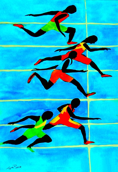 Photo Finish, 100 Meter - 11x15, watercolor, aug 18, 2016 DSCN0312
