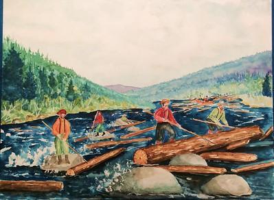 Log Drive on the Raquette River, 1880B  18x24, watercolor, jan 17, 2016
