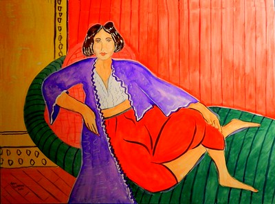 1- Matisse Odalisque, in the style of Elmyr de Hory, 16x22, gouache on paper, feb 11, 2016 DSCN0030