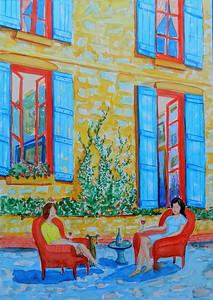 Afternoon Visit, 11x15, watercolor, feb 14, 2016 DSCN0050 2-14-2016 12-07-13 PM 2435x3428