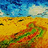 1-Homage to Vincent Van Gogh - Wheatfield With Crows 21 5x7 5, oil on wood panel, july 25, 2016  DSCN0207