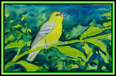 Blue-winged warbler, 8x5.5, watercolor & ink, feb 21, 2018.
