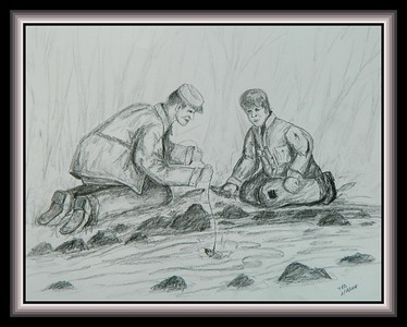 Fishing Without A Hook - Dad & Black Tony, 1935, on the farm, Lyndon Station, WI, 14x17, pencil, feb 18, 2018.