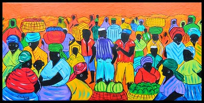 Market Day - Timbuktu,10x20, acrylic & ink on canvas, march 5, 2018.