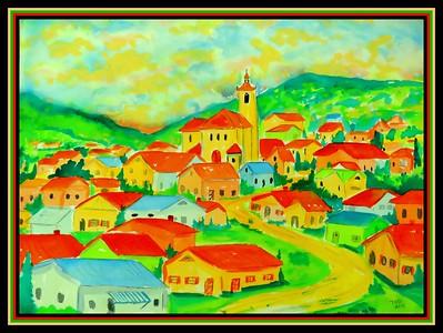 Grandma's Village - Semic, Croatia - gift to Jody, March 25, 2018. , 10x14, watercolor, march 9, 2018.IMG_1605-001
