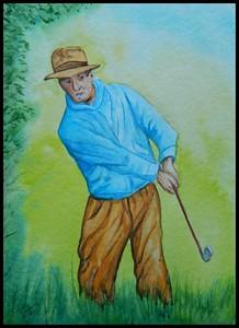 Ben Hogan, In the Rough, 1939. 9x12, watercolor, feb 9, 2018.