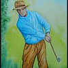 Ben Hogan, In the Rough, 1939. 9x12, watercolor, feb 9, 2018.