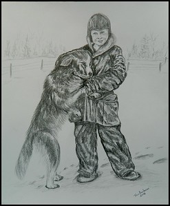 Dad and Ignotz, on the farm, 1936. 14x17, graphite pencil, jan 26, 2018.DSCN98142.jpg