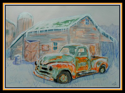Rusty's Garage, 10x14, watercolor & acrylic, jan 5, 2018.