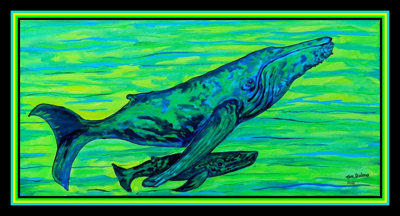 Humpback and Calf, 10x20, gouache on canvas, jan 17, 2018.