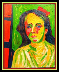 Homage to Gabrielle Münter - Girl with Red Bow. 11x14, oil on canvas panel, jan 16, 2018.