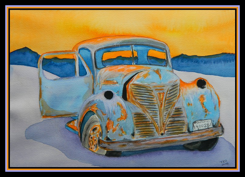 Left Behind - 1947 Fargo Flatbed Truck, 8.5x11, watercolor, jan 13, 2018.