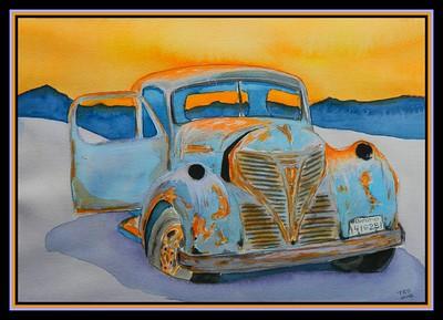 Left Behind - 1947 Fargo Flatbed Truck, 8.5x11, watercolor, jan 13, 2018.