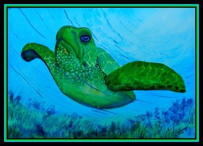 Green Sea Turtle, 10x14, gouache on paper, jan 18, 2018.
