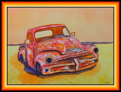 Salt Flat Chevy Pick Up, 10x14, watercolor & ink, feb 25, 2018.