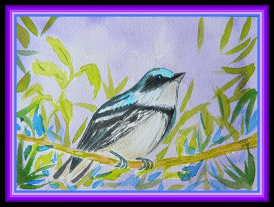 Cerulean Warbler, male, 5x7, watercolor, March 1, 2018.