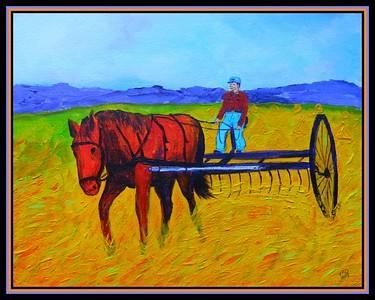 Raking the Hay - 1935. 11x14, acrylic on canvas panel. jan 1, 2018.