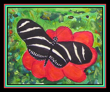 Zebra Longwing, Heliconius charitonia. FL, S US - Central Am, SA, West Indies. 4.5x6, watercolor, acrylic & ink, jan 9, 2019.PICT0014