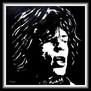 10-Mick Jagger, 12x12, acrylic on paper, jan 22, 2020. gift to Jenny, Phoenix, AZ,  jan 21, 2020
