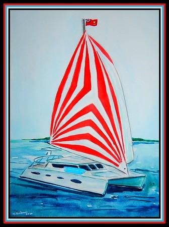 28-Catamaran -BVI, 9x12, watercolor, feb 26, 2020. Adopted by Jenny's cruise captain, British Virgin Islands, March 1, 2020.