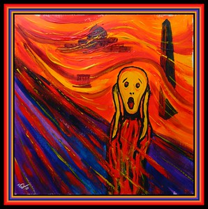 39-Homage to Edvard Munch - The Scream, 2020, 12x12, acrylic on paper, march 20, 2020.