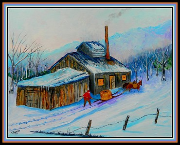 33.Sugaring  In The Adirondacks, circa 1932, 16x20, on canvas panel, march 6, 2020.