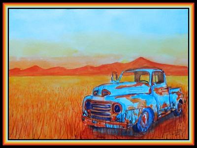 32. Wheatfield Pickup #2, 11x15, watercolor, march 4, 2020.