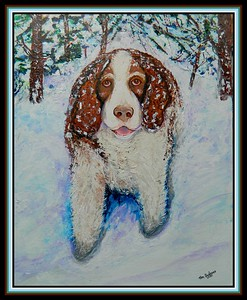 35-Eli,  Springer Spaniel, 16x20, acrylic on canvas panel, march 13, 2020. gift to Bill Perrier