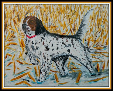 15-Brittany Spaniel, 11x14, acrylic on canvas panel, jan 31, 2020.