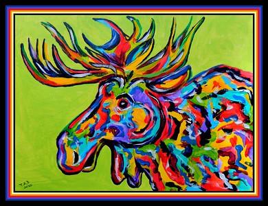 46.Technicolor Moose, 9x12, acrylic on paper, apr 1, 2020.