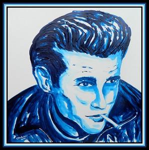 16-James Dean, 12x12, acrylic on paper, feb 2, 2020.DSCN0018A
