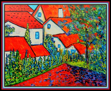 36-Homage to Alexei Jawlensky, Red Roofs, 16x20, acrylic on canvas panel, march 16, 2020.