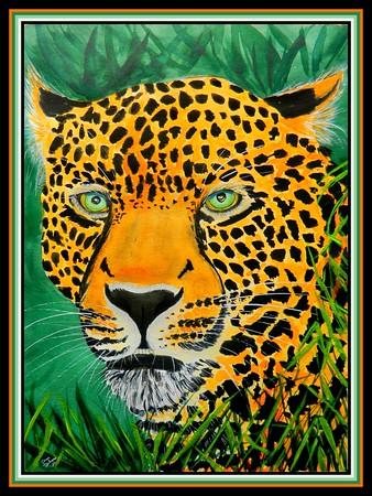 45.Leopard, 11x15, watercolor, color pencil, acrylic on paper, march 31, 2020.