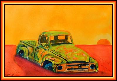 48.Desert Binder-1953 IH Pickup, 6x9, mixed media, apr 6, 2020.
