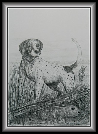26-Under Cover, 11x17, pencil on paper, feb 23, 2020.based on Field & Stream cover, Oct 1956.
