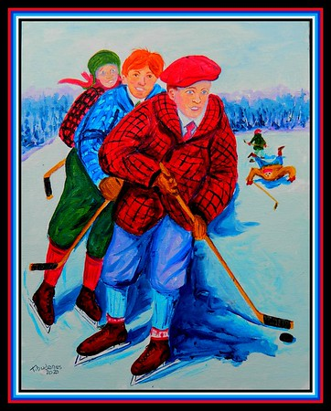 44. Old-Time Pond Hockey, 11x14, acrylic on canvas panel, march 26, 2020.
