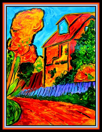 43.The Yellow House #2, 9x12, acrylic on paper, march 24, 2020. Homage to Alexei Jawlensky