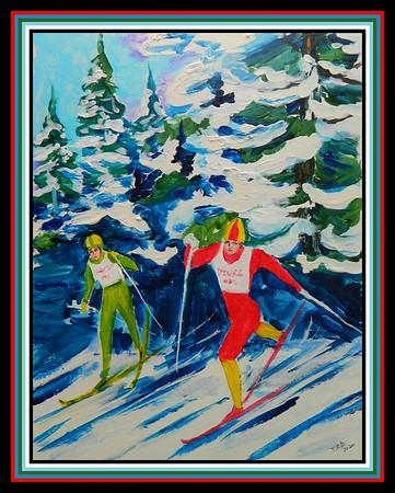 40-XC Ski Race, 11x14, acrylic on cardboard, march 21, 2020. gift to John Dimon at The Bike Shop, Saranac Lake, match 24, 2020.