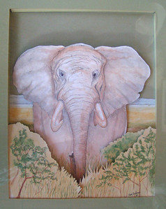 African Elephant, 1981, water color & pen construction, 10x13