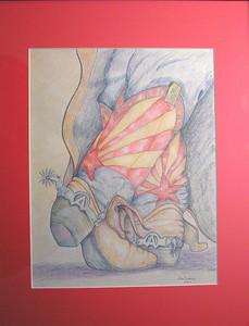Arizona Boots, 2003, color pencil, 10 5x13 5