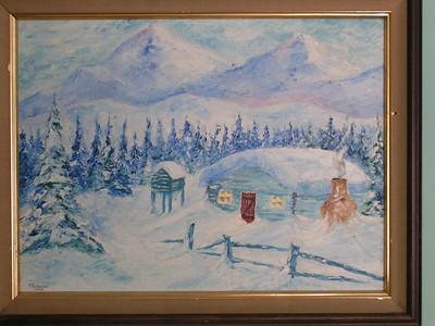 Alaskan Cabin, 1974, oil, 24x18