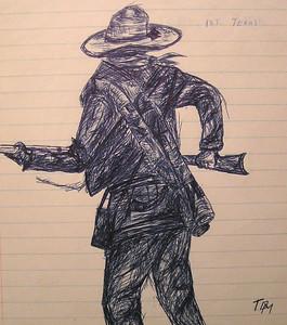 1st Texas-volunteer(sketch), april 26, 1961, pen on lined paper, @ 6x7