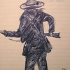 1st Texas-volunteer(sketch), april 26, 1961, pen on lined paper, @ 6x7