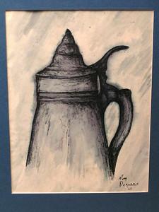 Beer Stein, 1968, watercolor & ink, 6x8
