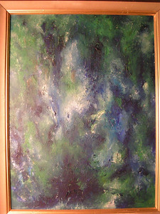 Blue-green Abstract, 1966, oil, 18x24