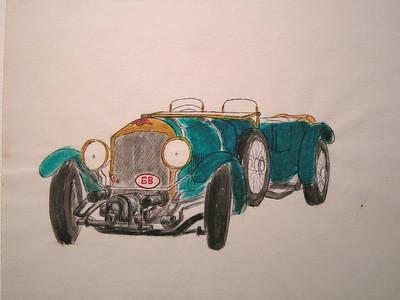 Bentley, 1974, watercolor, 11x8 5