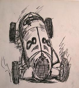 Alpha Romeo 12 cylinder Racer, 1968, ink, 7 25x8 75